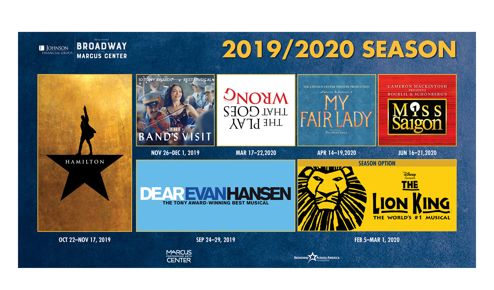 Marcus Center Broadway Season 2019-2020