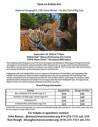 National Geographic Big Cats at the Marcus Center Group Sales